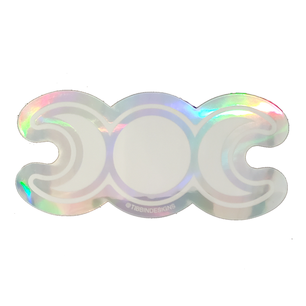 Triple Moon Holographic Sticker