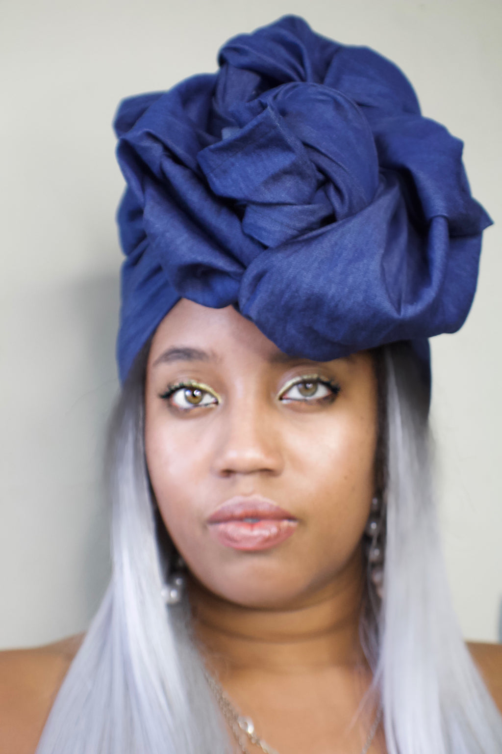 Desert Blues Dark Denim Headwrap - shopdraped