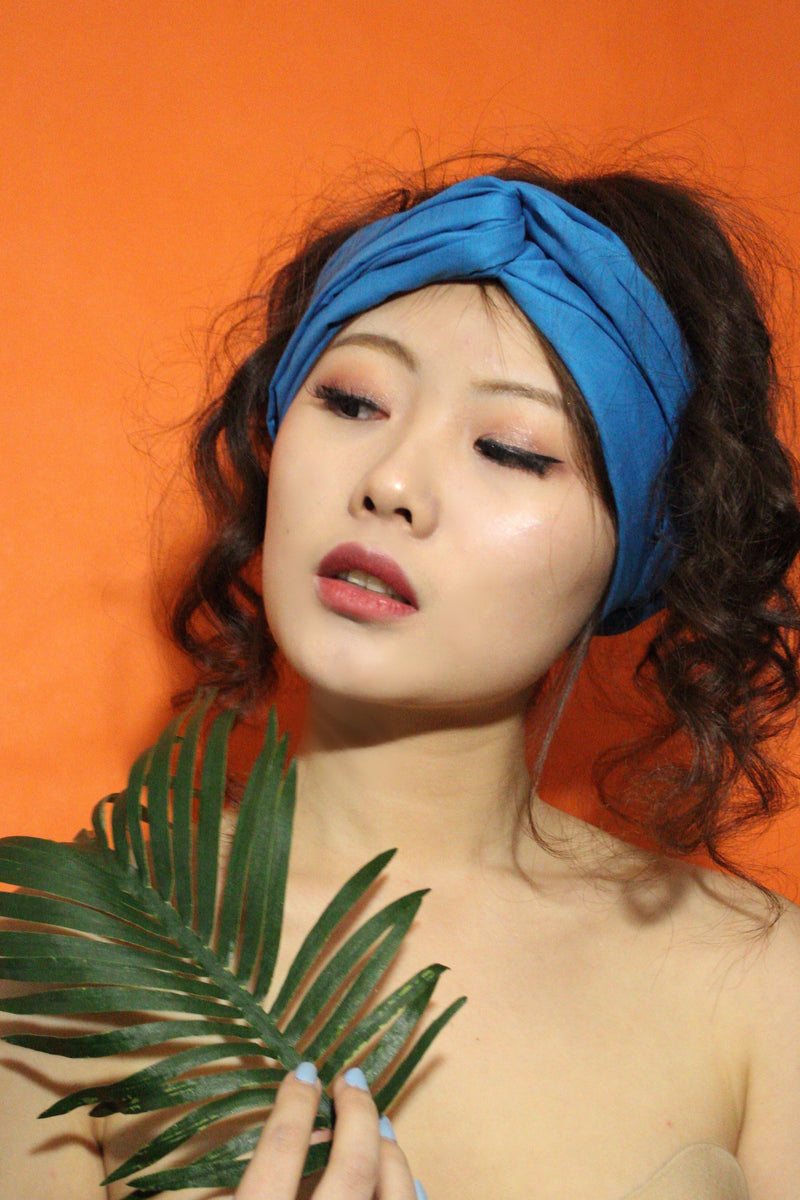Blue Solid Headwrap - shopdraped