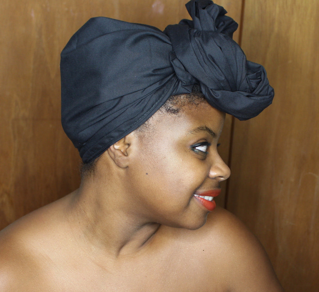 Black Solid Headwrap - shopdraped
