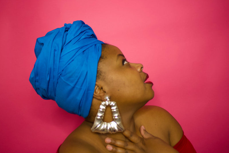 Blue Solid Headwrap