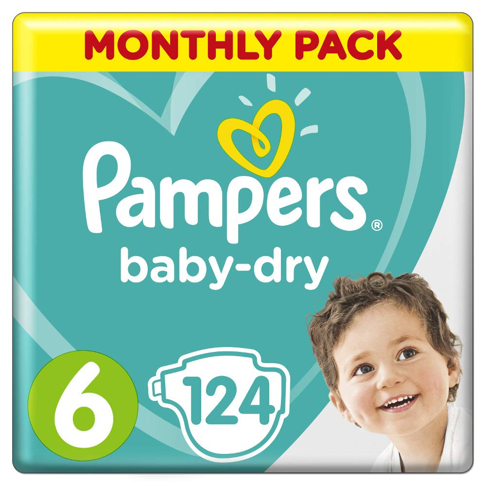 Pampers Monthly Pack Baby-Dry Nappies Size 6 Junior (13kg - 18kg) 124 Nappies - Stay at Home Mum.com.au