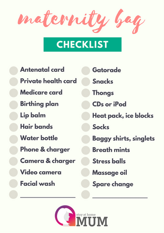 Maternity Bag Checklist - Stay at Home Mum.com.au