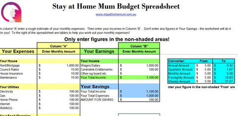 FREE Downloadable Budget Spreadsheet - Stay at Home Mum.com.au