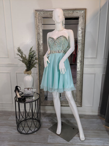 S0001 Small Aqua Blue Strapless Short Cocktail Homecoming Formal Dress | Runway Glow