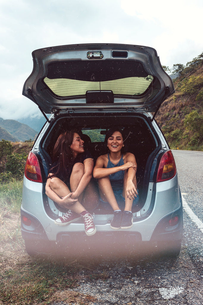 girls in the back of the car road tripping