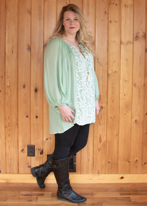 Plus Size Paisley Embroidered Baby Doll Tunic Top - Mint - Madam Gypsy