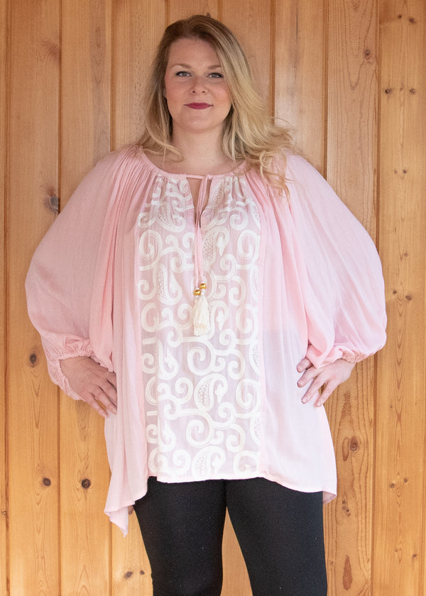 Plus Size Paisley Embroidered Baby Doll Tunic Top - Pink - Madam Gypsy