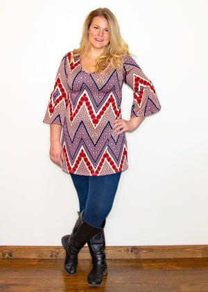 Wine Chevron Bell Sleeve Tunic - Madam Gypsy
