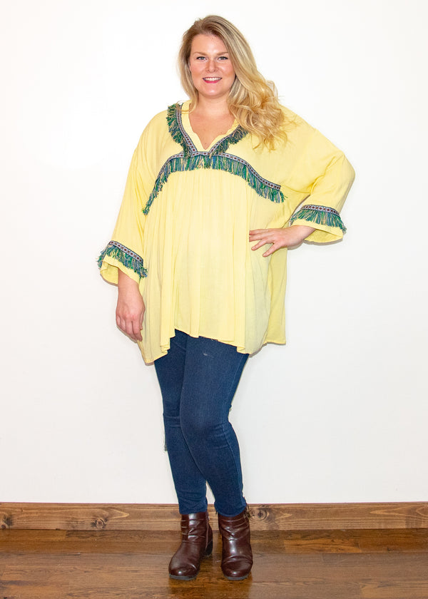 Fringe Outlook Yellow Tunic - Madam Gypsy