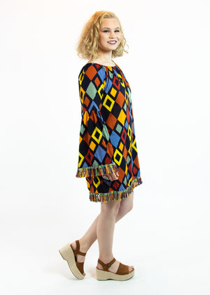 Off The Shoulder Geometric Dress with Fringe Detail - Madam Gypsy