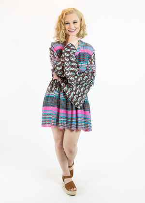 Pink and Brown Paisley Dress with Bell Sleeves - Madam Gypsy