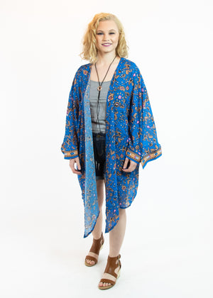 Blue Multicolor Floral Kimono with Handkerchief Hem