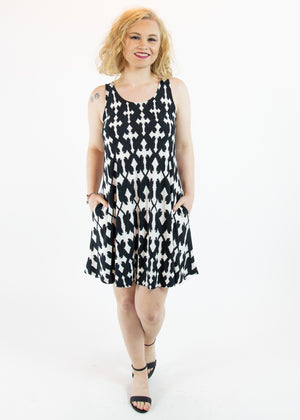 Black and White Cross Print Tank Dress with Pockets - Madam Gypsy