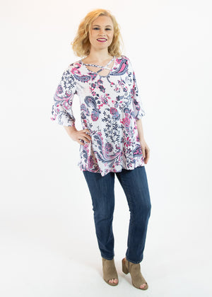 White and Purple Paisley Top with Criss Cross Detail - Madam Gypsy