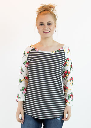 Floral and Striped Raglan Top with Long Sleeves - Madam Gypsy