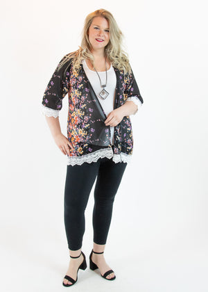 Black Floral Open Front Kimono with Lace Detail - Madam Gypsy