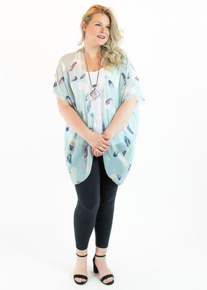 Mint Feather Print Kimono - Madam Gypsy