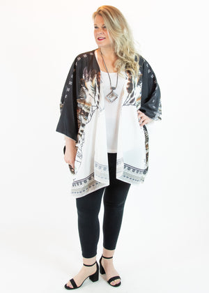 Black and White Feather Print Kimono - Madam Gypsy