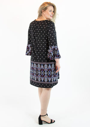 Black Lattice Bell Sleeve Dress with Pockets - Madam Gypsy