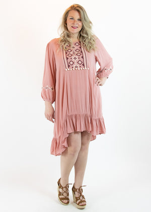 Dusty Pink Ruffled Embroidered Dress with Hi Low Hem - Madam Gypsy