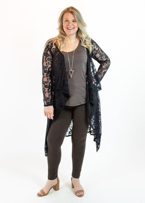 Black Long Embroidered Lace Duster Cardigan with Asymmetrical Hem - Madam Gypsy