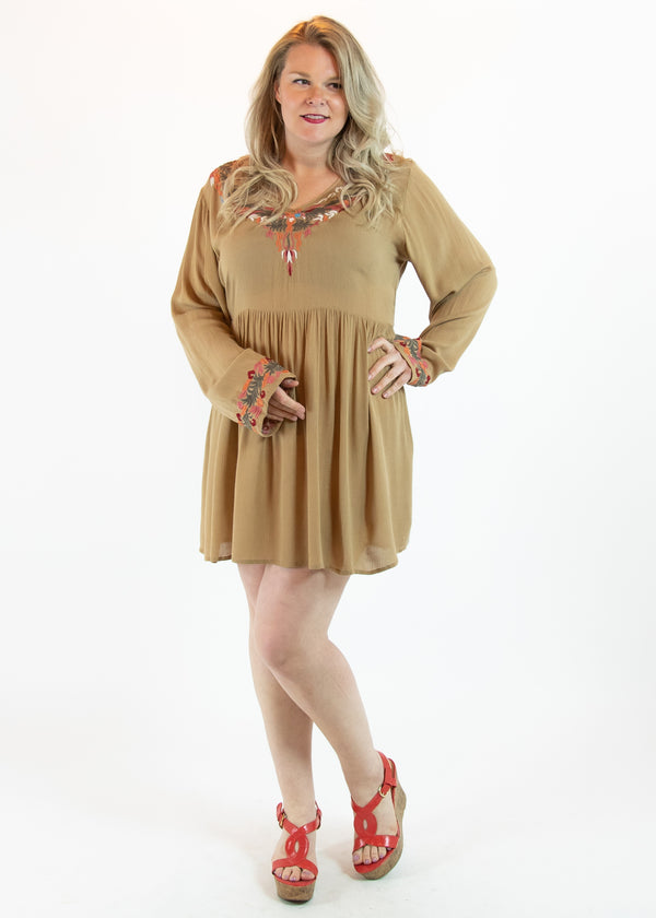 Tan Embroidered Dress with Long Sleeves - Madam Gypsy