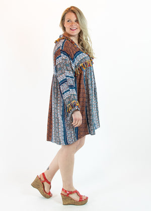 Blue Floral Dress with Fringe Detail - Madam Gypsy