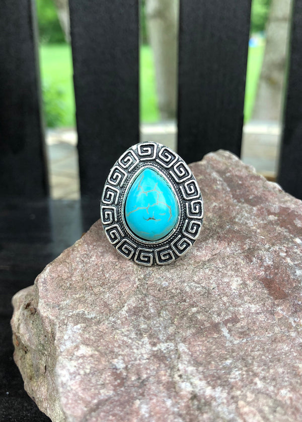 Turquoise Ring - Tear Drop - Madam Gypsy
