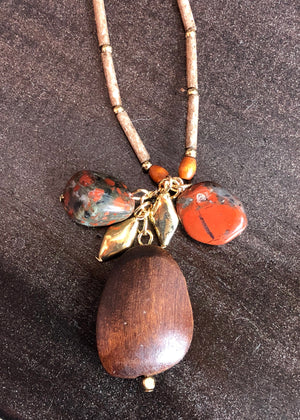 Golden Wood Meadows Stoned Pendant Necklace - Madam Gypsy