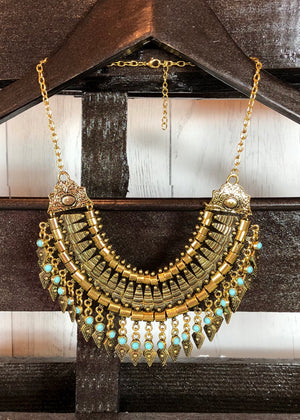 Golden Turquoise Bib Pendant Necklace - Madam Gypsy