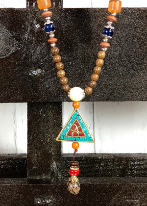 Wood Beaded Pendant Necklace - Triangle - Madam Gypsy