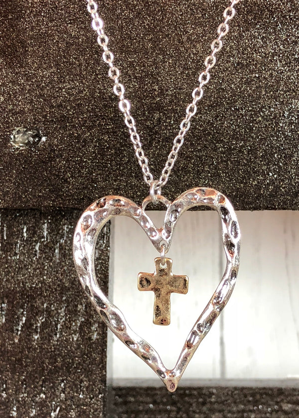 Sacred Love Hammered Heart Pendant Necklace - Silver - Madam Gypsy