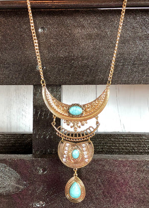 Half Moon Turquoise Pendant Necklace Gold - Madam Gypsy