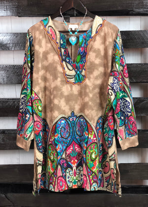 Plus Size Festival Stone-Wash Tunic Dress - Madam Gypsy