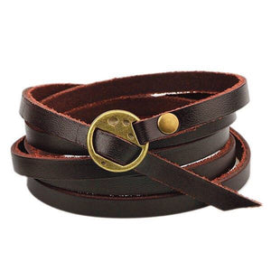 Solid Leather Bracelet Wrap - Madam Gypsy