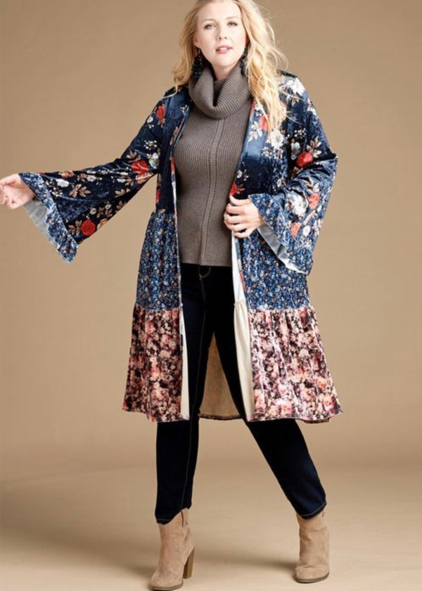 Plus Size Velvet Patchwork Block Open Maxi Cardigan - Madam Gypsy