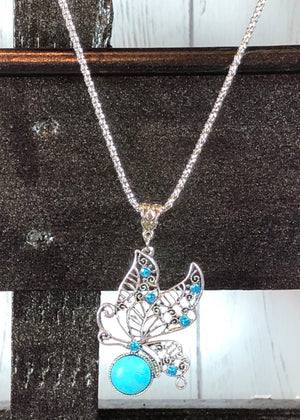 Turquoise Rhinestone Butterfly Pendant Necklace - Madam Gypsy