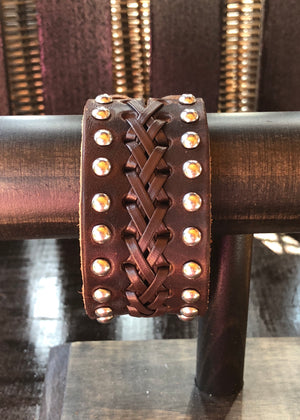 Studded Braided Leather Bracelet Cuff - Madam Gypsy