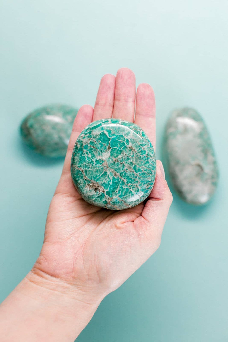 Amazonite Palm Stone // Communication + Stress + Harmony