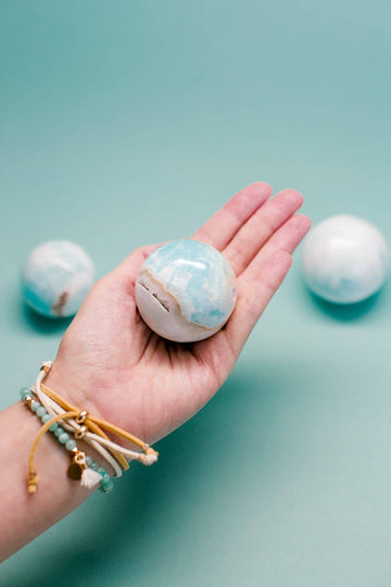 Caribbean Calcite Crystal Sphere // Calming + Finding Your Voice + Soothing