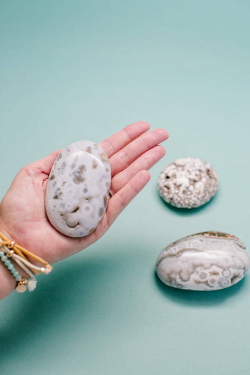 Ocean Jasper Palm Stone // Releasing Negative Feelings + Optimism + Communication