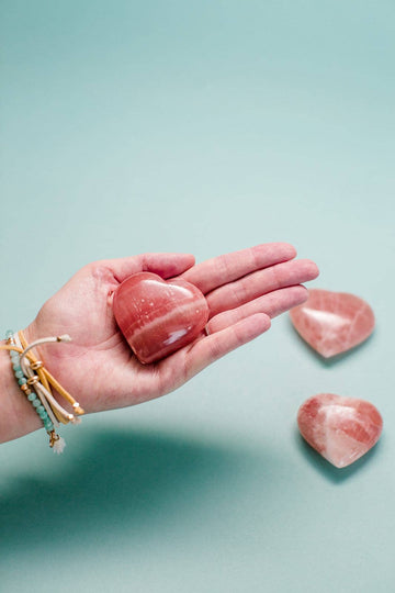 Rose Calcite Crystal Heart // Self Love + Peace + Connecting Mind & Heart