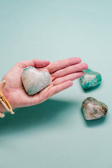 Chrysocolla & Quartz Crystal Heart // Tranquility + Love + Free Yourself From Judgement