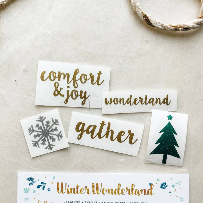 Roller Bottle Labels Holiday/Winter Theme