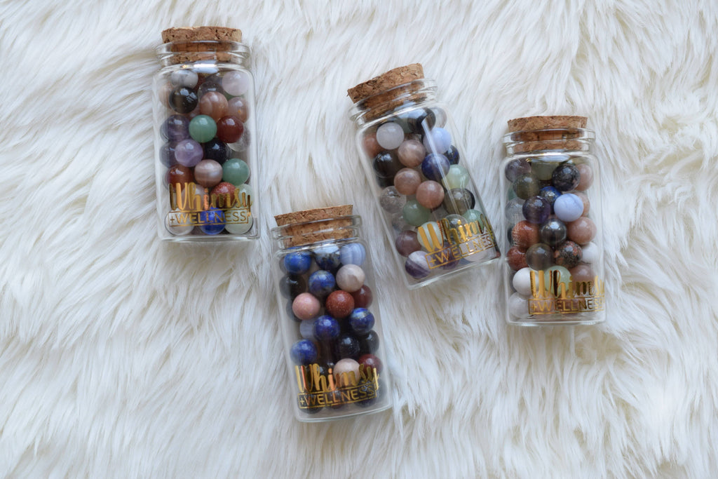Mini mixed crystal spheres in glass container
