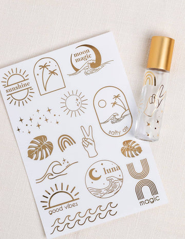 Sea & Sky Gold Foil Label Sheet
