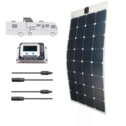 LINKSOLAR Solar Starter Kits 100watt solar panel with controller FOR RV/marine/yacht - Ncharger,LINKSOLAR