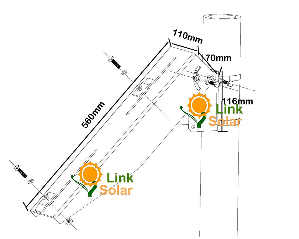 Solar Panel Pole Mount Kit Single Arm Wall Mounting Brackets Mounted Controller Wiring Diagram Support Panels From