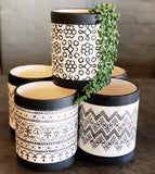 Round Ceramic Pot Black and White Designs